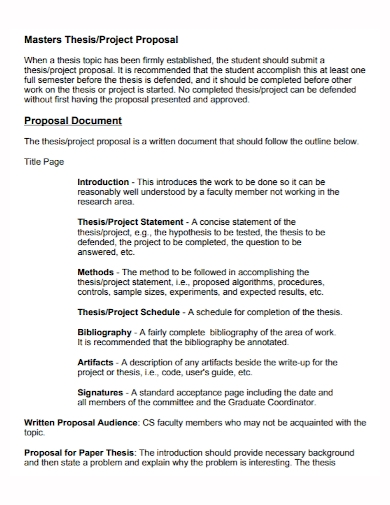 master thesis project proposal