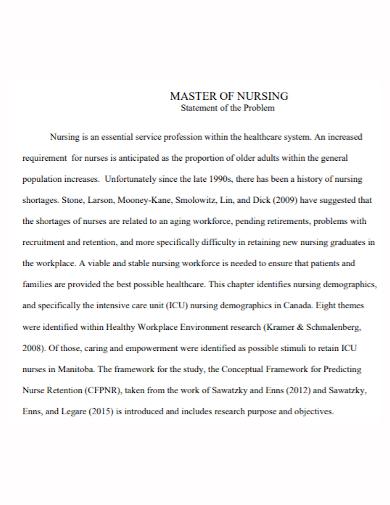 master of nursing problem statement