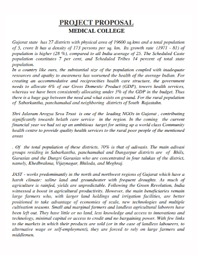 medical college project proposal