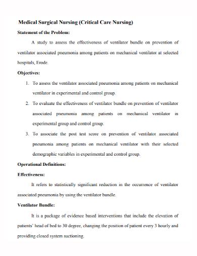 medical surgical nursing problem statement