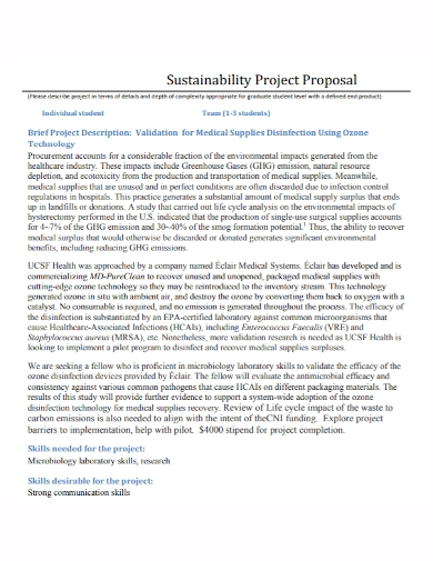 medical sustainability project proposal