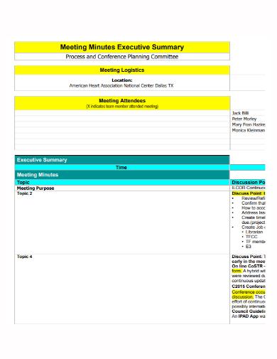 meeting minutes executive summary