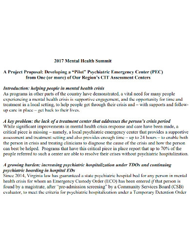 mental health project proposal