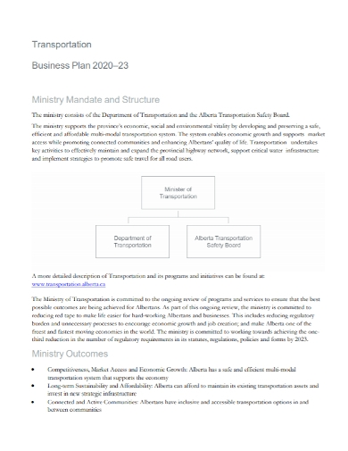 ministry transportation business plan
