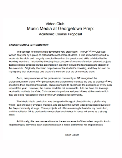 music video media course proposal