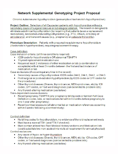 network supplemental genotyping project proposal