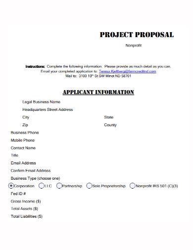 non profit applicant project proposal