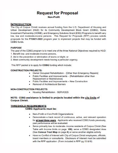 non profit construction project proposal