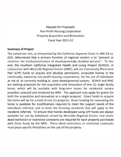 non profit property project proposal
