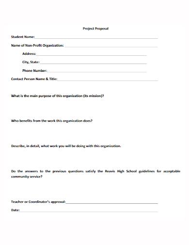 non profit student project proposal