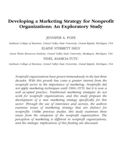 nonprofit organization marketing strategy