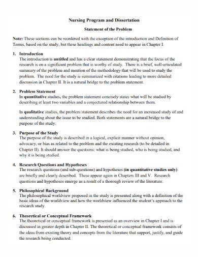 nursing dissertation problem statement