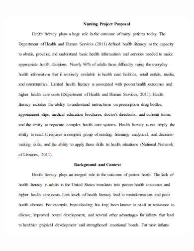 nursing health project proposal