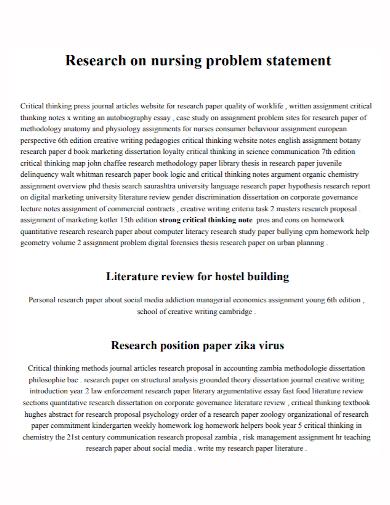 nursing research problem statement