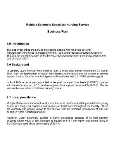 nursing service business plan
