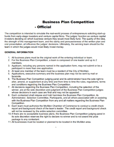 official competition business plan