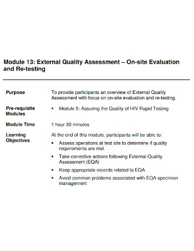 on site evaluation quality assessment