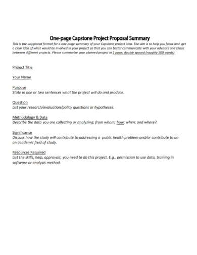 one page project proposal summary