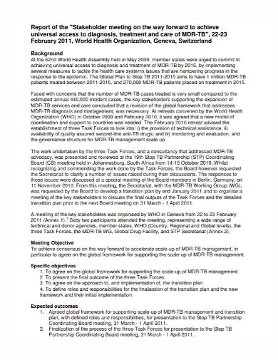 organization stakeholders meeting report