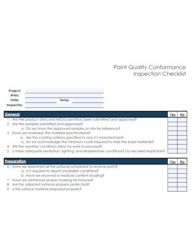paint quality conformance inspection checklists