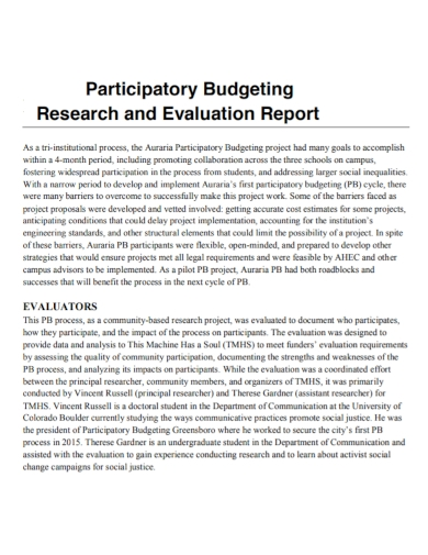 participatory budgeting research evaluation report