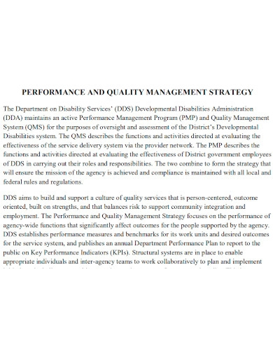 performance and quality management strategy