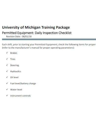 permitted equipment daily checklist