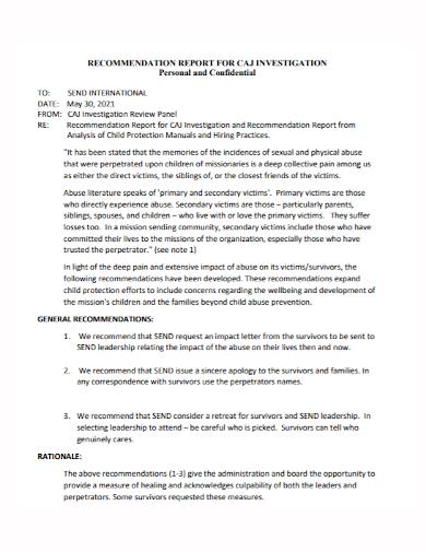 personal confidential investigation report
