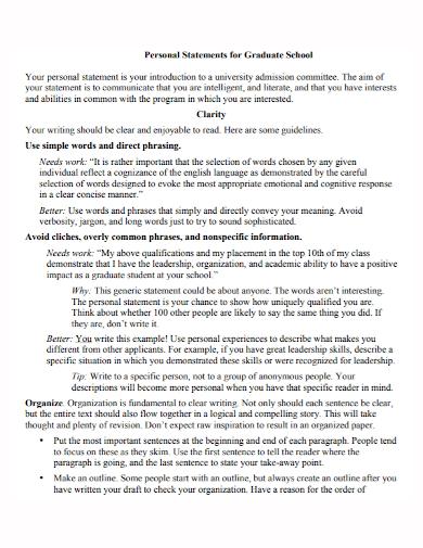 personal statement for grad school