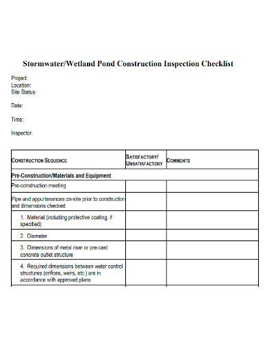pond construction inspection checklist
