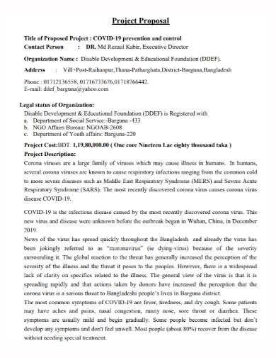 prevention control title project proposal