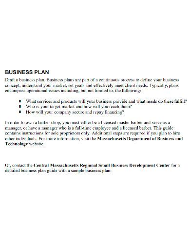 printable barber shop business plan