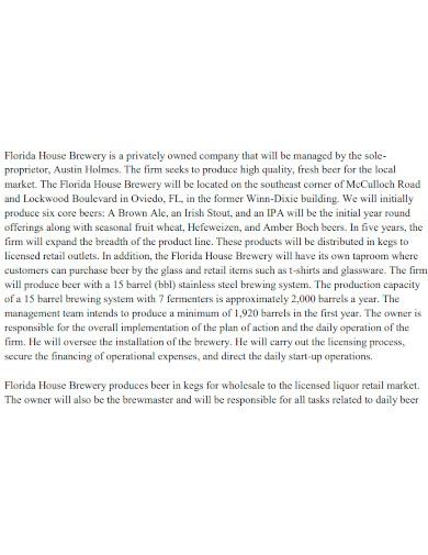 printable brewery business plan
