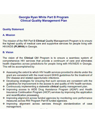 printable clinical quality management plan