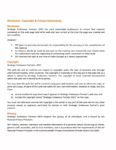 printable copyright disclaimer statement