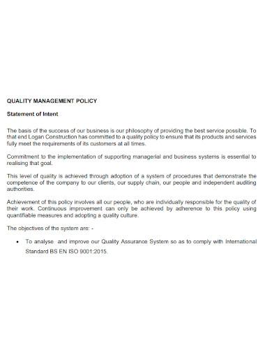 printable quality management statement