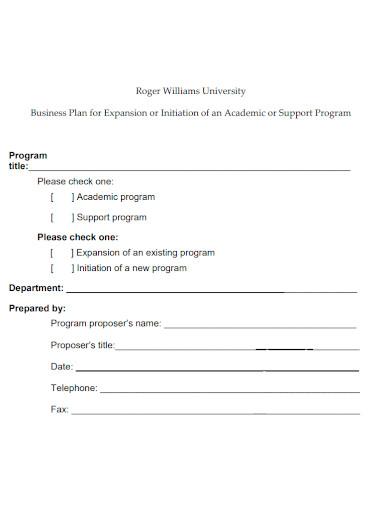 printable university business plan