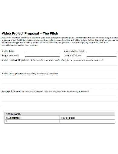 printable video project proposal