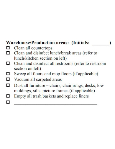 printable warehouse cleaning checklist