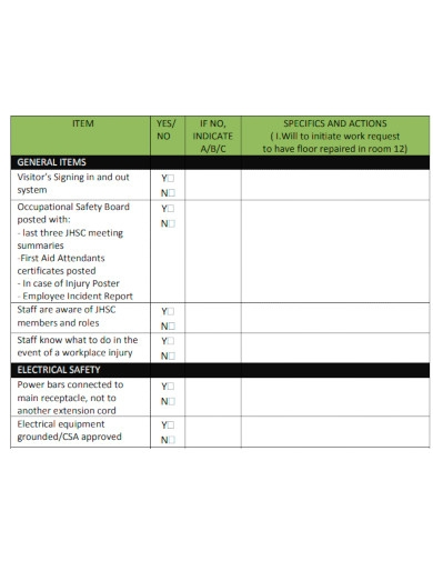 printable workplace safety inspection checklist