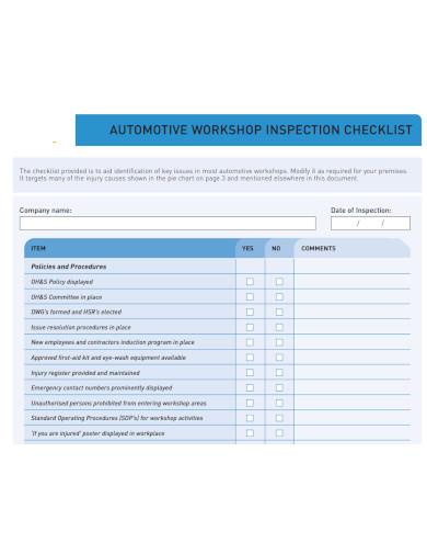 printable workshop inspection checklist
