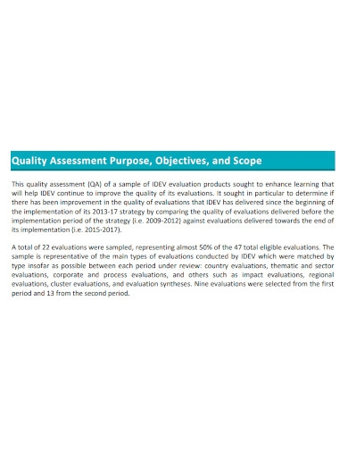 product evaluation quality assessment
