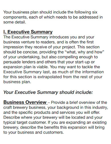 professional brewery business plan