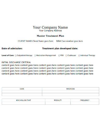 professional client treatment plan