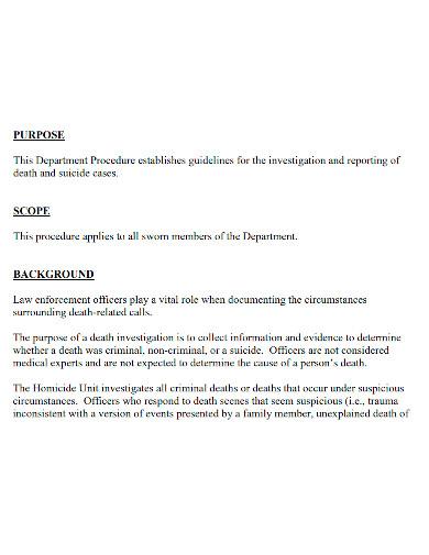 professional death investigation report