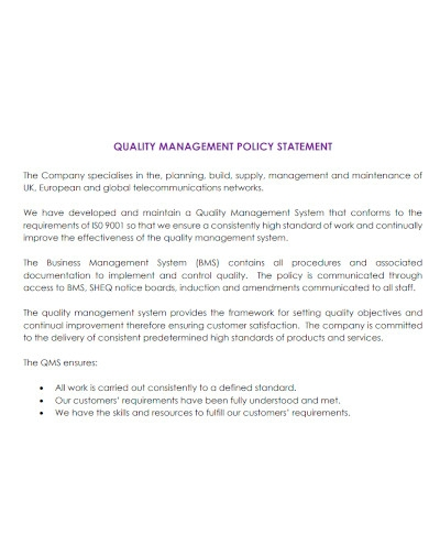 professional quality management statement