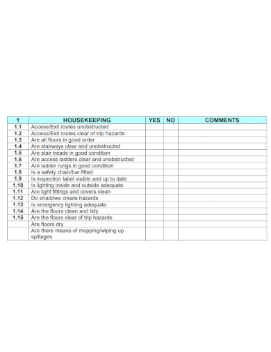 professional workplace housekeeping checklist