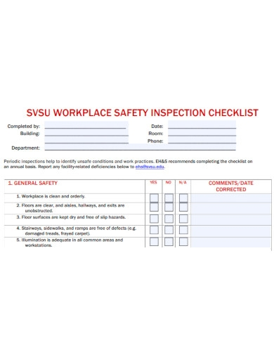 professional workplace safety inspection checklist