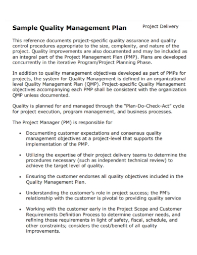 project delivery quality management plan