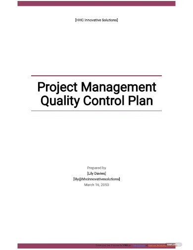 project management quality control plan template